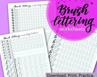 Bouncy Brush Lettering Lowercase Alphabet Worksheets for Small Brush Pens