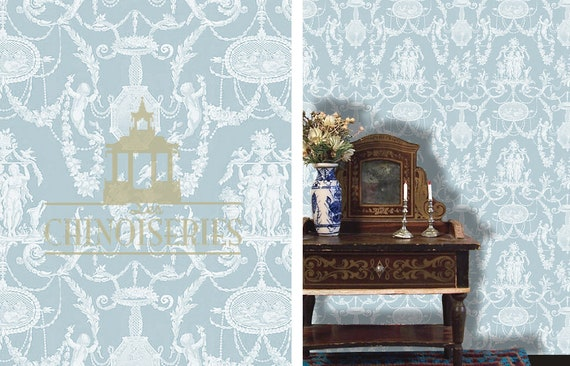 Dollhouse Miniature Wallpaper, Wedgewood, Scale One Inch