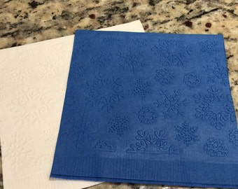 Frozen Themed Snowflake Hand Embossed Napkins