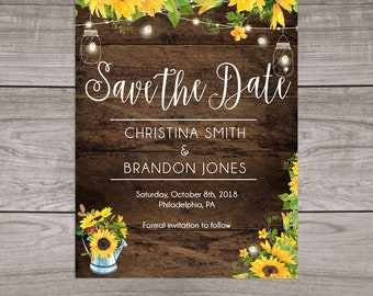 Rustic Sunflower Save the Date Cards Printed and Shipped to You - Includes Printed Cards and Envelopes - Sunflower Wedding-101