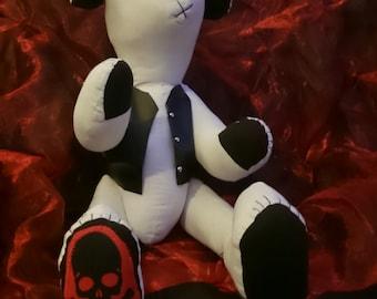 Gothic stuffed Dog customised/custom plush/plush dog, fabric dog,cloth dog,plush animal