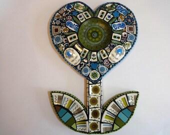 SALE, Mosaic Heart,Mosaic Wall Art, 70s home decor, Mosaic Art, Mosaic