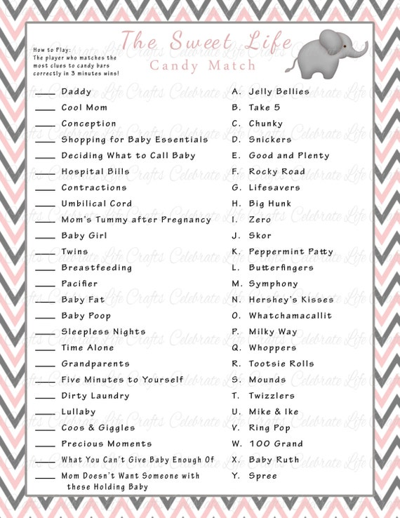Baby Shower Sweet Life Candy Bar Match Game   Printable Baby Shower Games    Pink Gray Elephant Chevron Baby Girl G002
