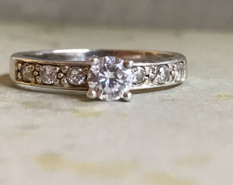 Vintage Silver 925 clear crystal stone ring