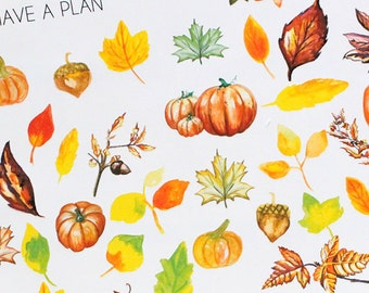 Planner Stickers Watercolor Fall and Autumn Leaves Variety for Erin Condren, Happy Planner, Filofax, Scrapbooking