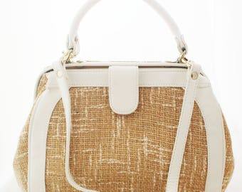 Purse - Straw Burlap White faux leather over the shoulder bag with top handles and removable strap