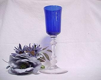 RARE Cambridge Gadroon Torchere, Royal Blue Vintage Cigarette Holder, 1930s Smoking Memorabilia, Elegant Tobacco Related Collectible Glass