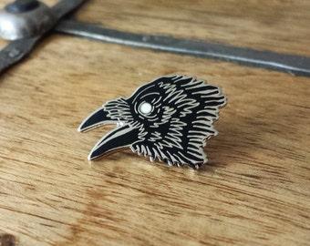 Dark Wings, Raven Enamel Lapel Pin | High Polish, Enamel & Silver Plated