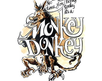 Donkey - Art with coffe as medium - Digital copy