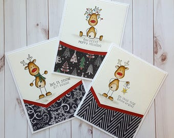 Watercolor Painted Christmas Card Set, Stick Reindeer Cards, Red, Black and White Christmas Cards