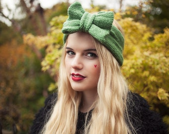 Olive Green Knitted Headband, Knitted Headband, Knit Headband, Oversized Bow Headband, Cute and Cosy Ear Warmer