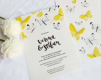 Wedding invitation card - Hand-lettering & Butterflies / DIN A5