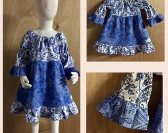 Boho/Hippie Cotton Peasant Dress, size 3t