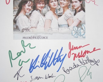 Pride and & Prejudice Signed Film Movie Screenplay Script Autograph X13 Keira Knightley Rosamund Pike Donald Sutherland Judi Dench signature