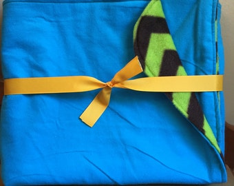 Blue Flannel with Green and Brown Chevron Fleece Back Baby Blanket