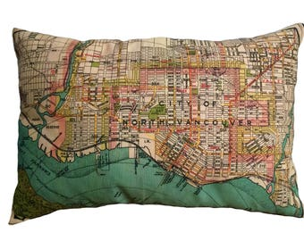 North Vancouver Vintage Map Pillow - FREE SHIPPING