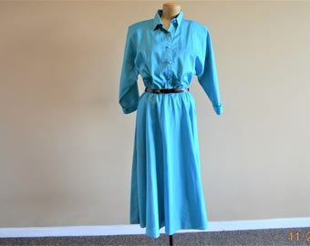"""American Shirt Dress,Size 9/10 Blue,Good Vintage Condition,Made USA,44"""" chest,Full Skirt, 1980's dose the 1950's"""