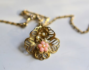 Sweet Faux Coral and Pearl Flower Basket Necklace; Vintage Costume Necklace; Gold Basket Necklace; Feminine Necklace