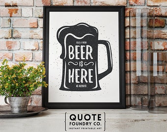 Dark Gray Beer Is Here Print // Beer Mug Retro Typography Home Wall Decor Print, Last Minute & Kitchen Decor Gift 8x10 - INSTANT DOWNLOAD