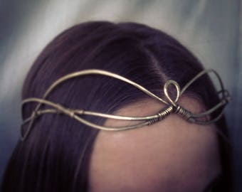 Elven princess Tiara Brass Wire wrapped Tiara Magic  Elven crown  Elf Tiara Enchantress Elven headpiece Elven circlet Woodland elf tiara