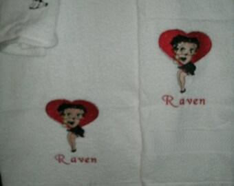 Betty Heart Bath, Hand Towel  & washcloth Personalized Towel Set