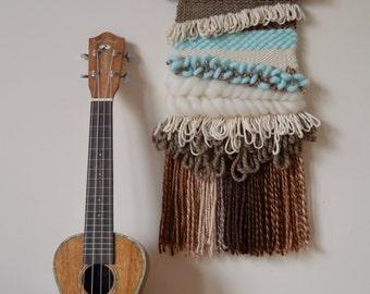 "Woven Wall Hanging, Boho Interiors, Woven Tapestry, Mint Decor, Nursery Decor, New Home Gift, Fibre Art, Modern Weaving - ""Mint Choc Chip"""