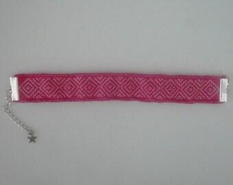 Hand embroidered Sashiko Cuff Bracelet