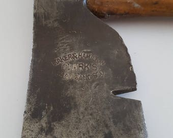 Antique Baker & Hamilton Hardware Co roofing hatchet, Sold by Clark's of San Francisco,  early 1900's