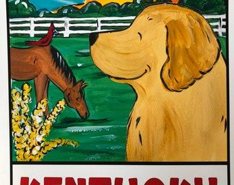 """Whimsical Golden Retriever """"A Golden State Of Mind"""" 8x10 print Kentucky"""