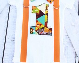 Baby Boy First Birthday Lion King Theme Bow tie Suspenders set Boy Cake Smash Boy first year outfit boy birthday Boy first birthday Second