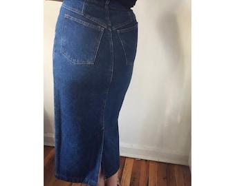 Vintage 70s Blue Denim Midi Skirt by the Gap