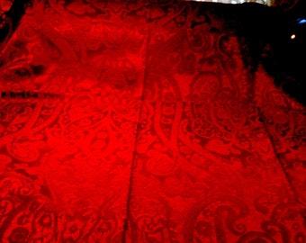 Vintage Fabric Remnant Blood Red Damask