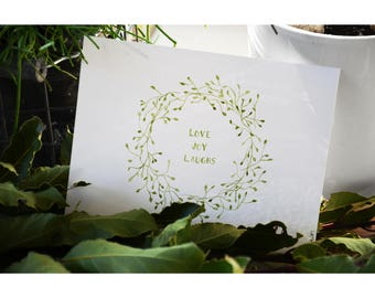 Watercolor card, flower wreath