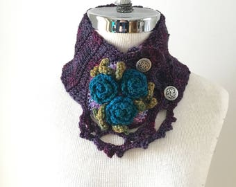 Rose Scarf in purple, blue, green. Teal blue roses to accent this beautiful scarf.  READY TO SHIP.