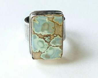 Sterling silver Handmade Red River turquoise statement ring, hallmarked in Edinburgh.