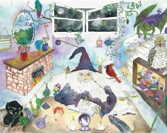 Fantasy art print, wizard, harry potter, art print, wall art print, illustration print, limited edition, magician, childrens art