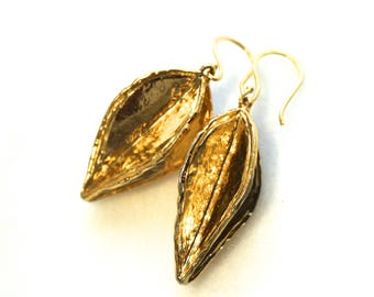 Modern Sleek HUGE Pod Earrings in Gold Vermeil and Vintage Brass...