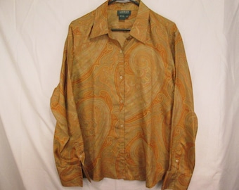 vintage, Ralph Lauren pure silk oversized paisley gold bronze tones french cuff womens blouse size 16