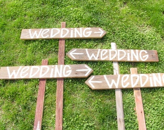 BLANK wedding signs wedding reception decorations 6 barn wood Wedding Signs w/ Stakes directional name tags paint your own