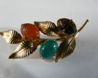 Vintage 12K Gold Filled Wire  Scarab brooch Jade  W.R.E.