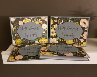 Gray/Floral Sympathy Card Set
