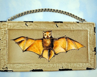 Bat Rustic Metal Wall Art- Mixed Media, Original Art, Bat Wall Hanging, Small Kids Room Decor, Cute Bat Gift, Brown Bat Art Gift