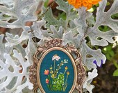 Cactus Study No. 2- hand embroidered necklace, desert, succulent, cacti