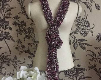 Handmade ladder yarn scarf