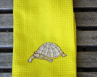 A turtle embroidered on a 16x28 Cotton, Absorbent Waffle Weave dish towel, Kitchen Towel