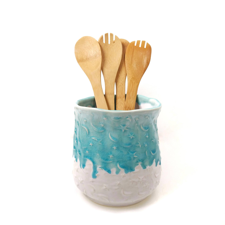 Ceramic Utensil Holder Kitchen Utensil Jar Star and Moon