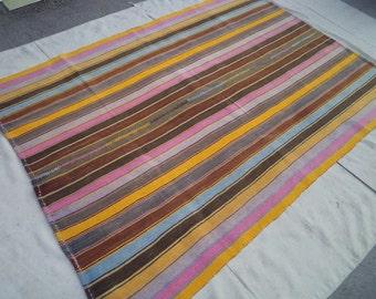 free shipping VINTAGE TURKİSH kilim Anatolian - Rug Carpet.- handwoven kilim rug - decorative kilim - SİZE:62'' X 89'' (155 cm X 223 cm)