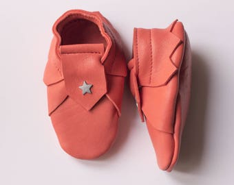 Coral red vegetable tanned leather baby booties size 3-6 months
