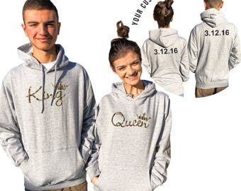 KING QUEEN camouflage couple hoodies, personalized Back custom Dates, comes in a pair, Matching hoodie, Anniversary gift Matching