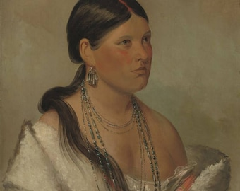 George Catlin : The Female Eagle (1830) Canvas Gallery Wrapped Wall Art Print